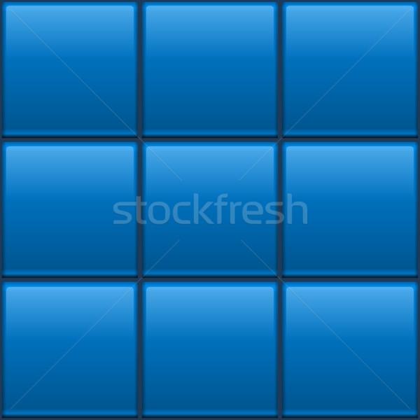 Seamless blue tiled wall vector template. Stock photo © tuulijumala
