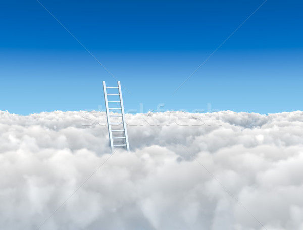 Ladder to the clouds concept image. Stock photo © tuulijumala