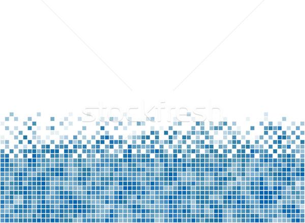 Abstract blue mosaic bottom stripe with white copy space. Stock photo © tuulijumala