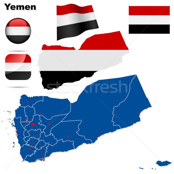 Stock fotó: Jemen · vektor · szett · részletes · vidék · forma