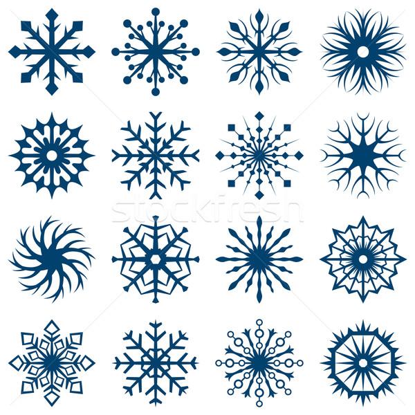 Ingesteld sneeuwvlok geïsoleerd witte vector Stockfoto © tuulijumala