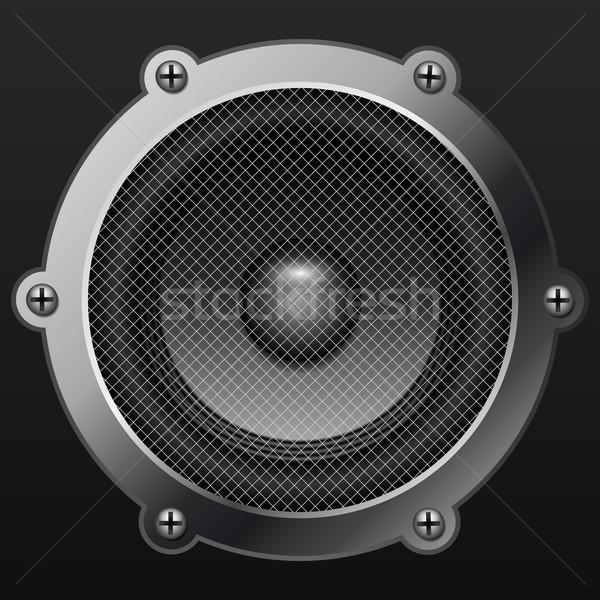 Sound speaker isolates on black background realistic vector illu Stock photo © tuulijumala