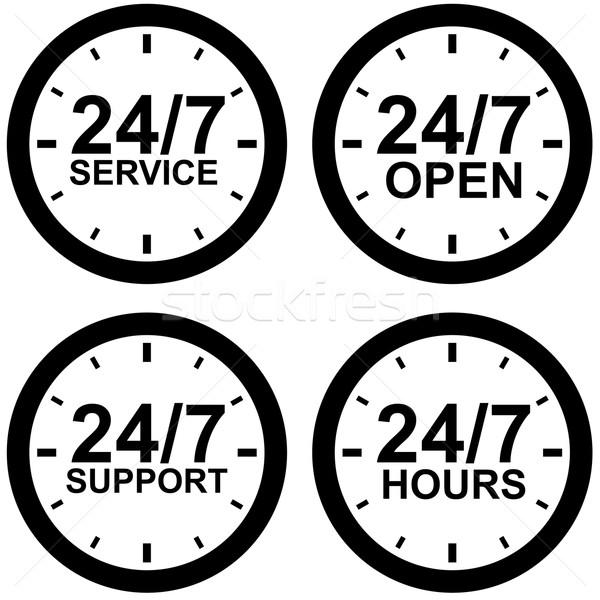 Around-the-clock operating hours black and white vector sign Stock photo © tuulijumala