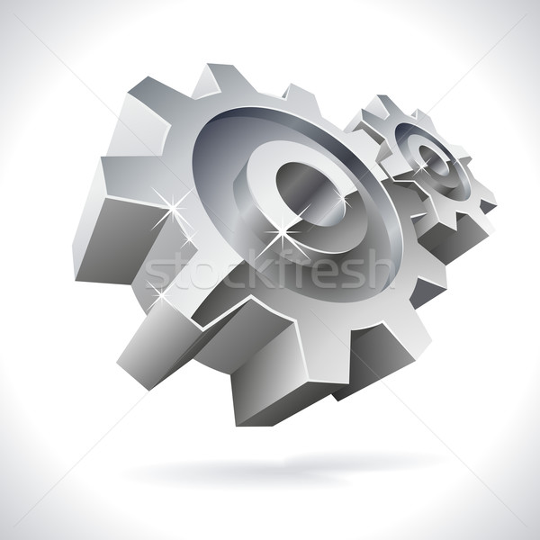 3D metal gears shiny icon isolated on white.  Stock photo © tuulijumala