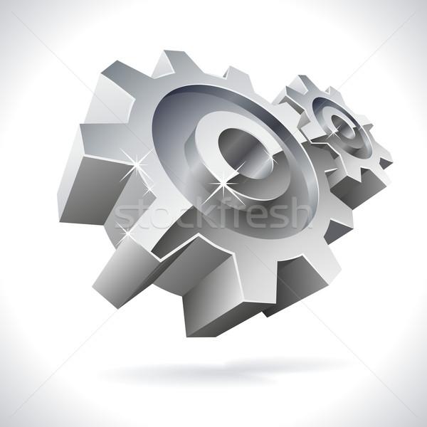 3D metal engrenagens brilhante ícone isolado Foto stock © tuulijumala