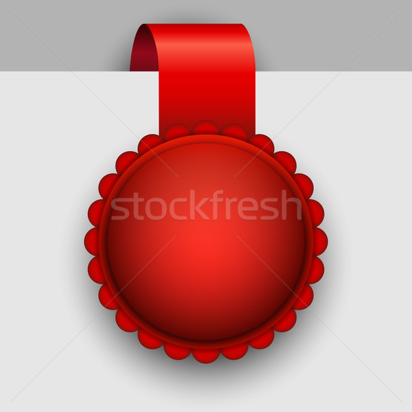 Blank red rosette tag vector template. Stock photo © tuulijumala