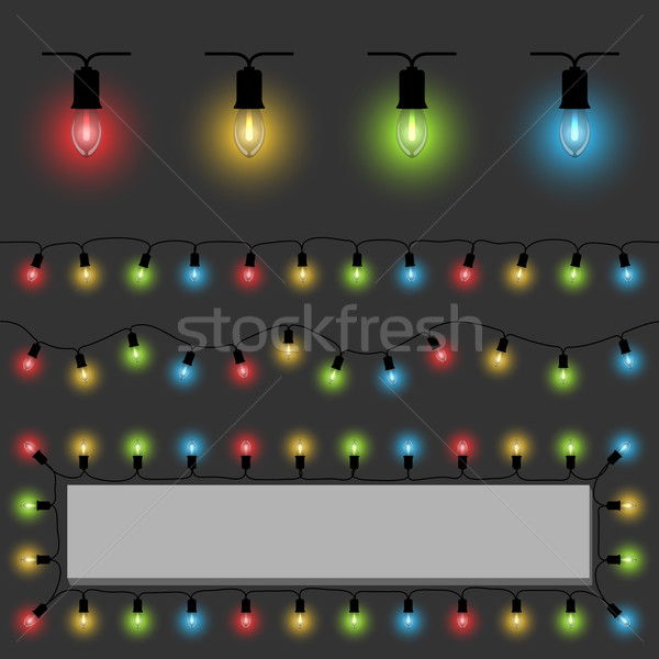 Color fairy lights vector template with examples of usage. Stock photo © tuulijumala