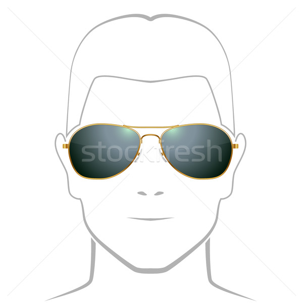 Black sunglasses with golden rim vector template with face outli Stock photo © tuulijumala