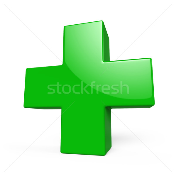 Glossy green plus sign 3D render isolated on white background. Stock photo © tuulijumala