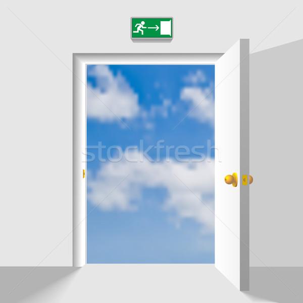 Opened doorway leading to the heaven. Concept vector illustratio Stock photo © tuulijumala