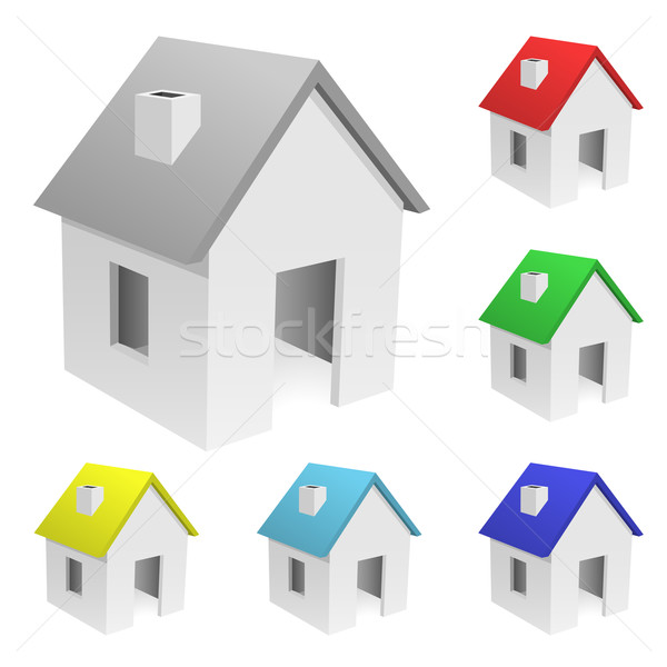 Vector set of tiny houses with varicolored roofs isolated on whi Stock photo © tuulijumala