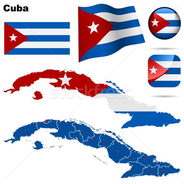 Photo stock: Cuba · vecteur · détaillée · pays · forme