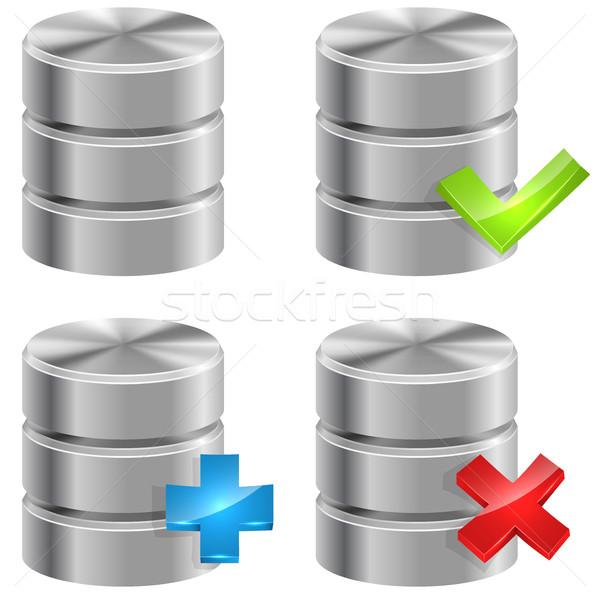 Metaliczny bazy danych ikona odizolowany biały Internetu Zdjęcia stock © tuulijumala