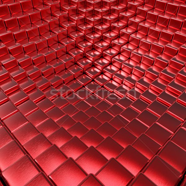Abstract red brushed metallic cubes 3D background. Stock photo © tuulijumala