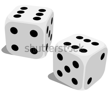 Stock photo: Vector illustration of white dice with double six roll. No gradi
