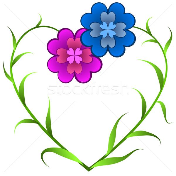 Vector kaart bloemen hartvorm liefde schets Stockfoto © tuulijumala