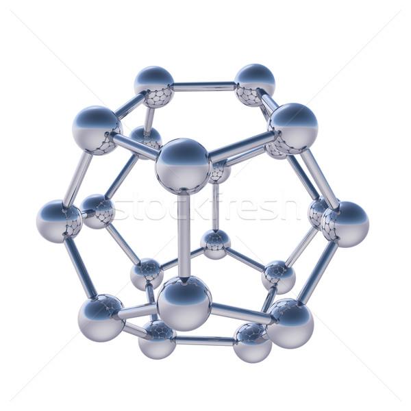 Króm gömb alakú molekuláris struktúra izolált fehér Stock fotó © tuulijumala