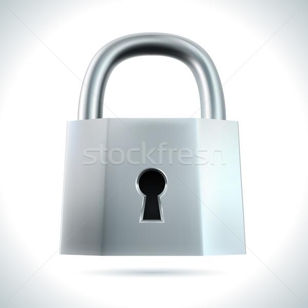 Metal padlock isolated on white background vector illustration. Stock photo © tuulijumala