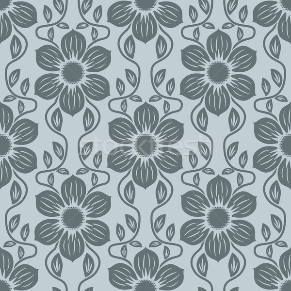 Seamless blue grey flower vector background. Stock photo © tuulijumala