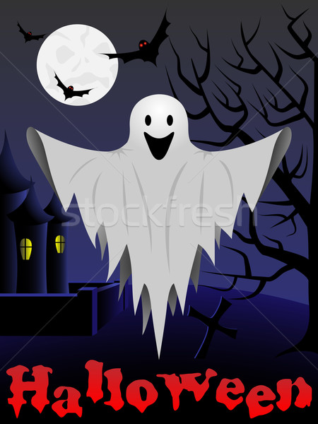 Halloween card with flying ghost and castle and tree in the back Stock photo © tuulijumala