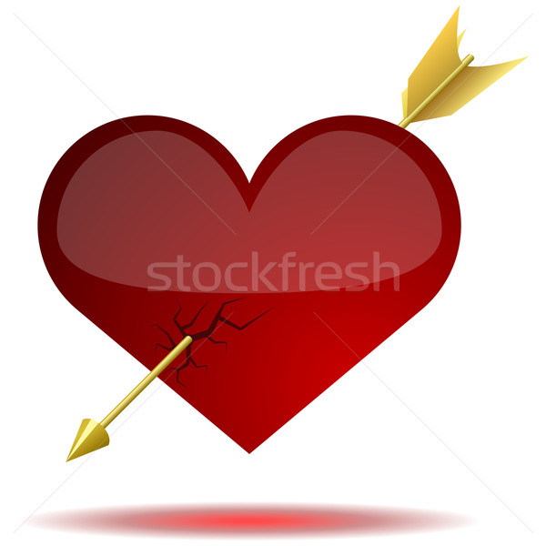 Stock photo: Red glossy heart pierced with arrow isolated on white background