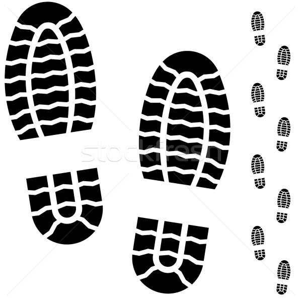 Black and white boot prints Stock photo © tuulijumala