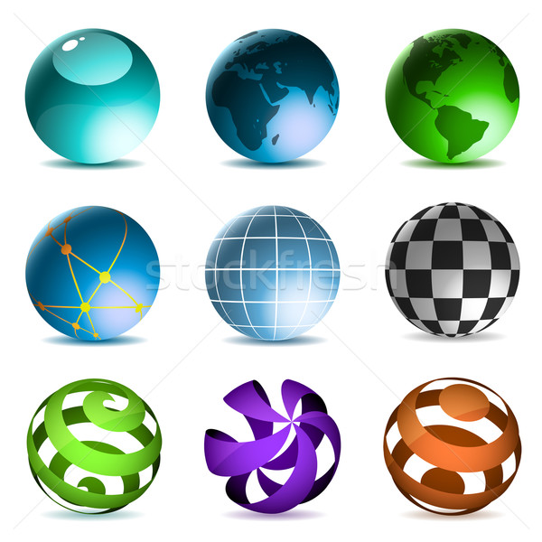 Globes and spheres icons set isolated on white background. Stock photo © tuulijumala