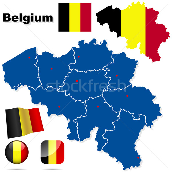 Stock photo: Belgium vector set. Detailed country shape with region borders,