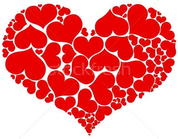 Big heart shape comprised by smaller ones isolated on white back Stock photo © tuulijumala