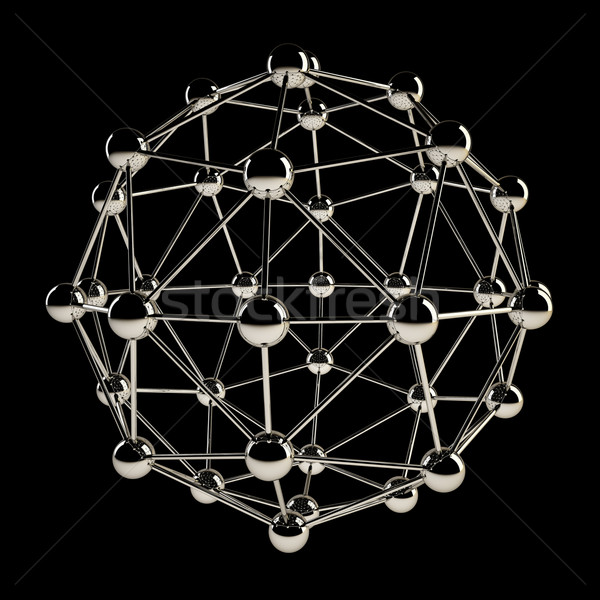 Sfera wireframe cromo struttura isolato nero Foto d'archivio © tuulijumala
