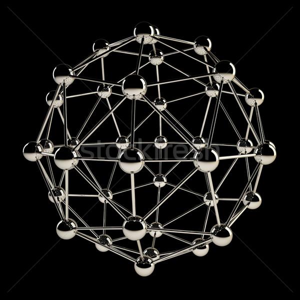 Sphère chrome structure isolé noir Photo stock © tuulijumala