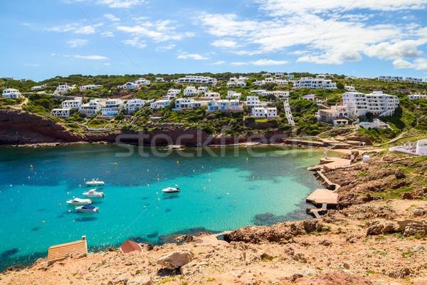 Cala Morell cove scenery in sunny day at Menorca, Spain. Stock photo © tuulijumala