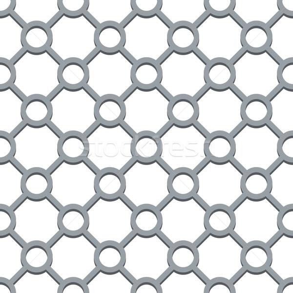 Seamless circle and diamond shapes grill vector pattern. Stock photo © tuulijumala