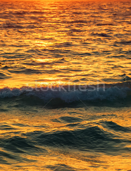 Sea water surface with setting sun light reflection vertical bac Stock photo © tuulijumala