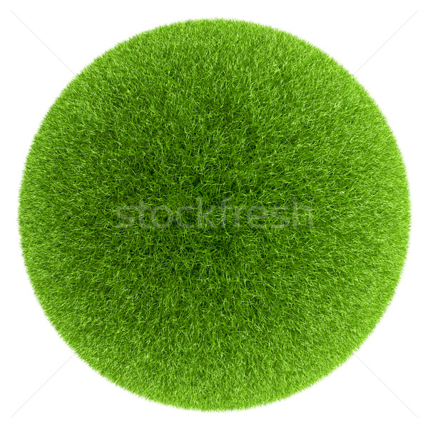 Sphere covered with green grass isolated on white background. Stock photo © tuulijumala