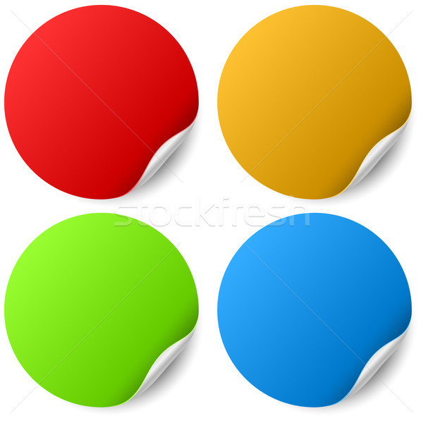 Color round stickers with curled edge vector template Stock photo © tuulijumala