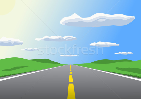 Free sunny highway going up to the horizon. Stock photo © tuulijumala