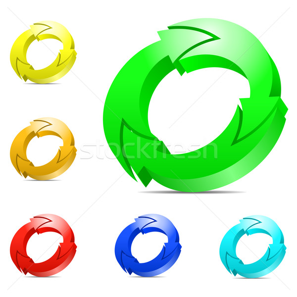 Recycle concept. Set of color cycling arrows isolated on white b Stock photo © tuulijumala