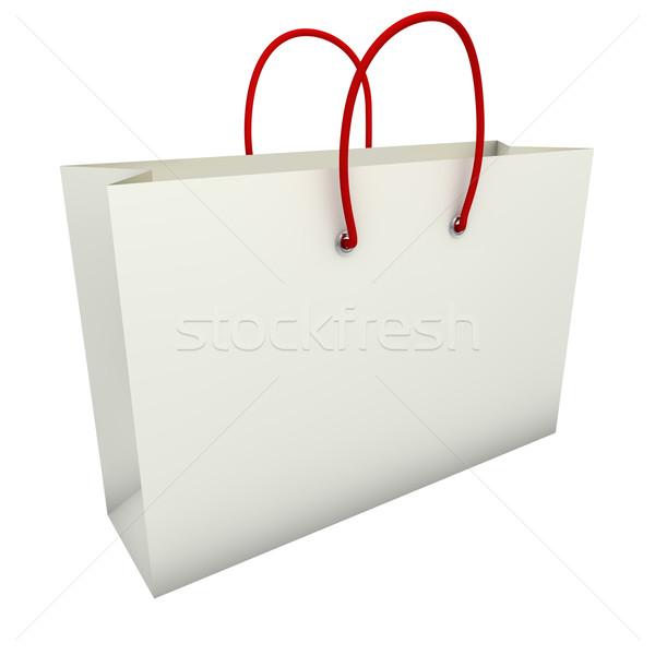 Boş beyaz alışveriş çantası kırmızı yalıtılmış arka plan Stok fotoğraf © tuulijumala
