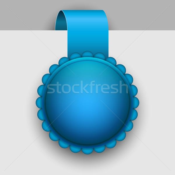 Winter blue rosette tag vector template. Stock photo © tuulijumala