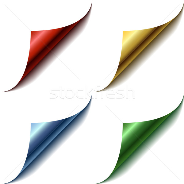 Stock photo: Vector set of curled glossy page corners.