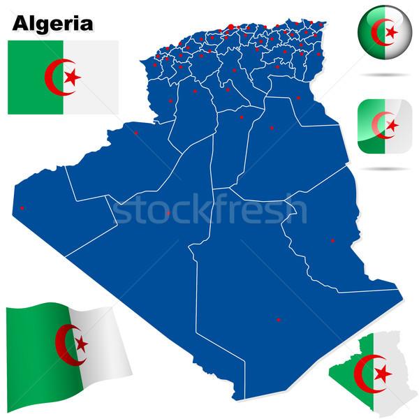 Алжир вектора набор подробный стране форма Сток-фото © tuulijumala