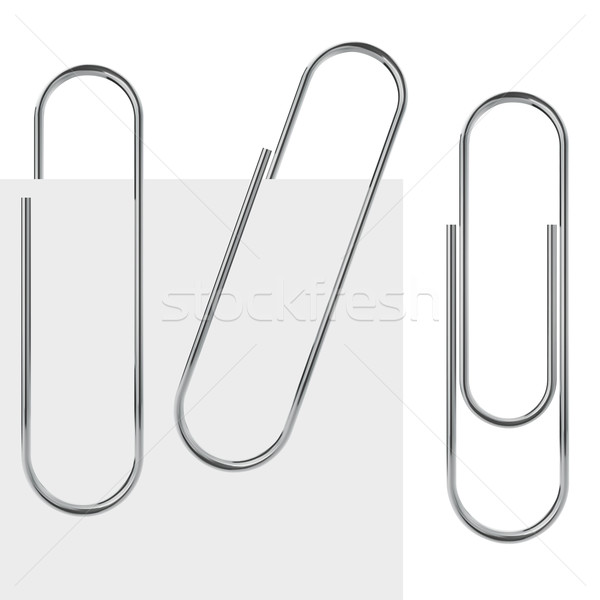 Metal paperclip vector template isolated on white background. Stock photo © tuulijumala