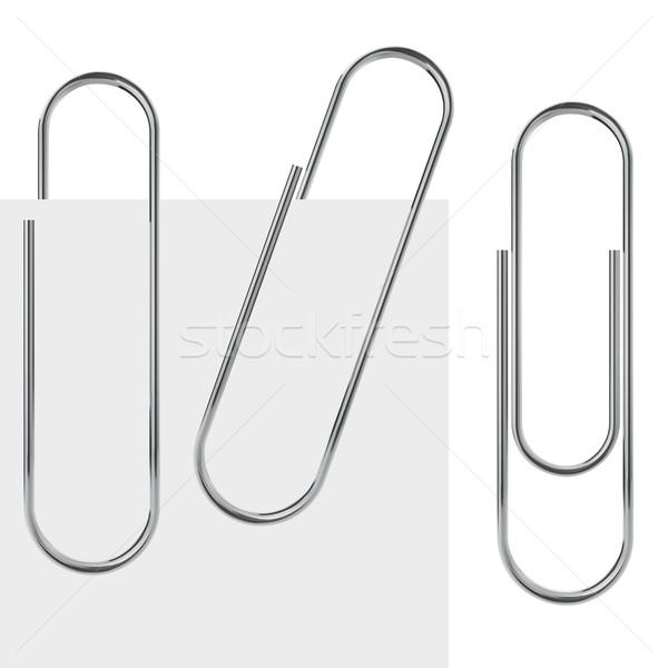 Metal spinacz wektora szablon odizolowany biały Zdjęcia stock © tuulijumala