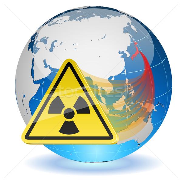 Earth globe with radiation hazard sign Stock photo © tuulijumala
