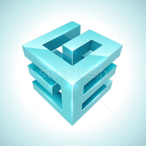 Abstract 3D cube cyan icon isolated on white background. Stock photo © tuulijumala