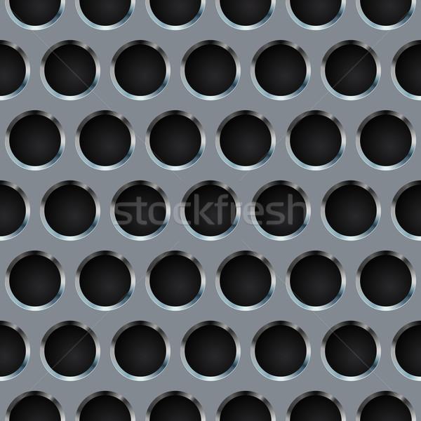 Seamless circle perforated metal grill vector pattern. Stock photo © tuulijumala