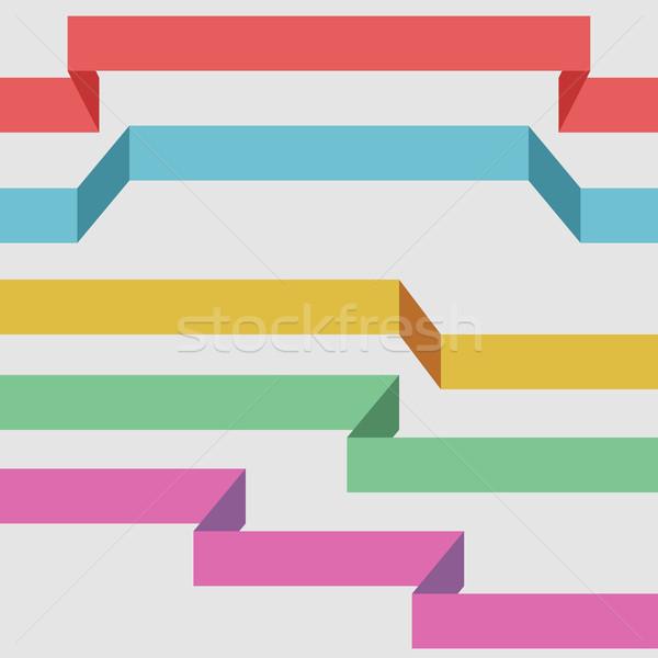 Kleur lint banners geïsoleerd witte papier Stockfoto © tuulijumala