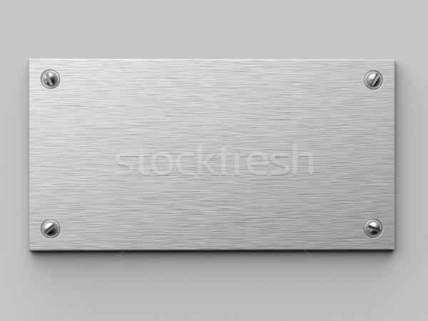 Metal plaka sabit beyaz duvar 3D Stok fotoğraf © tuulijumala