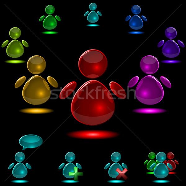Set of vector glass glowing user figures isolated on black backg Stock photo © tuulijumala